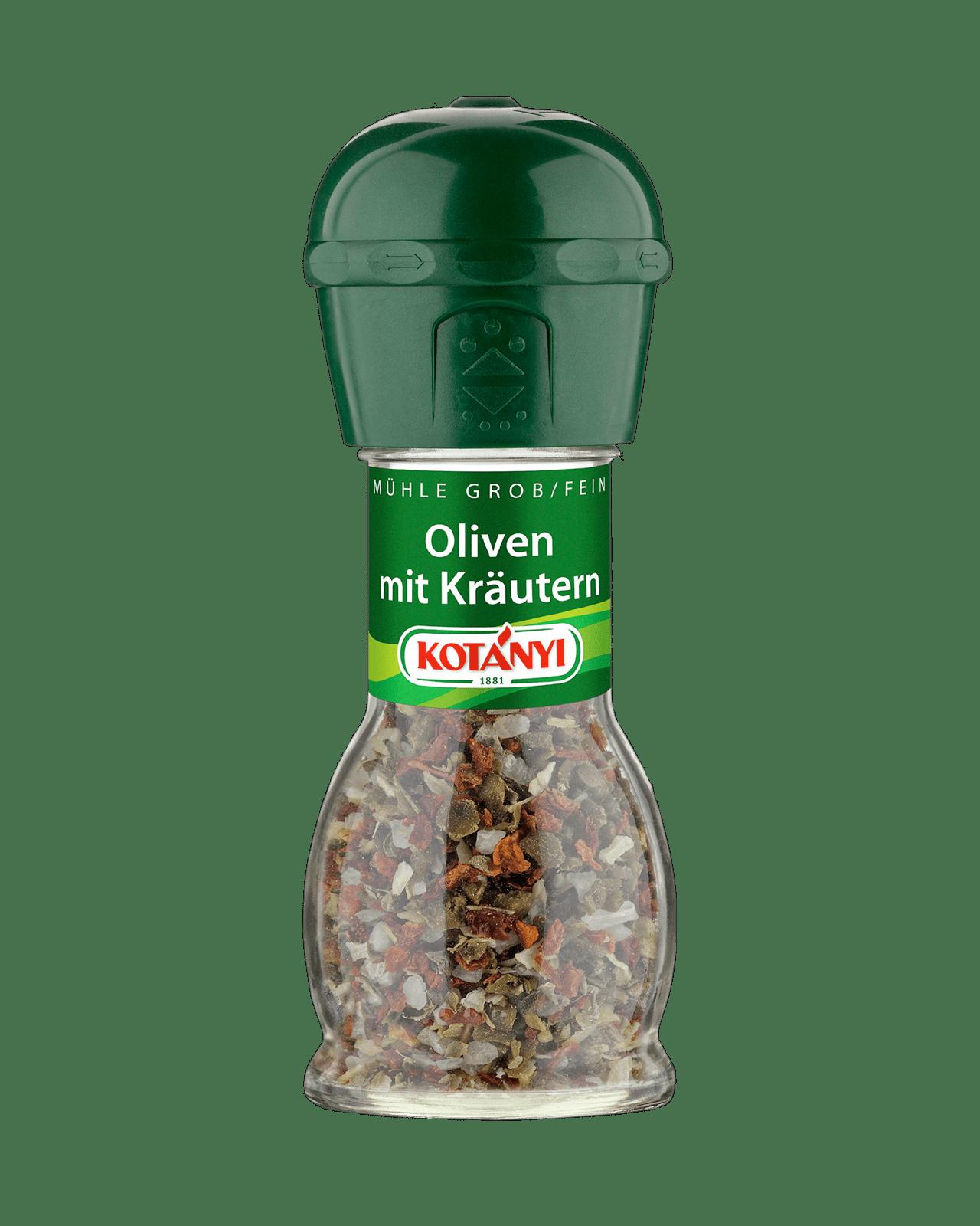 Kotányi Oliven mit Kräutern in der Mühle
