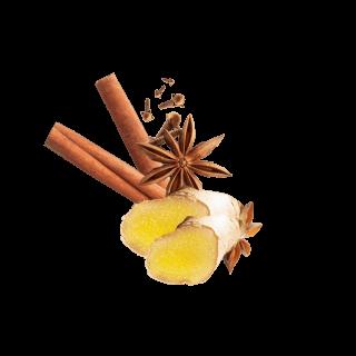 Ingwerscheiben, Zimtstangen, Sternanis und Nelken