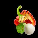 Jungzwiebel mit Petersilie und gegrilltem Paprika