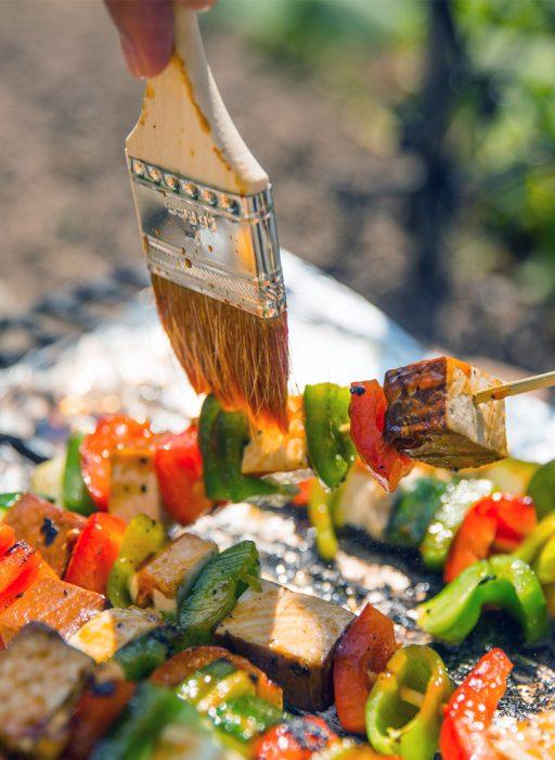 Vegan Grillen mit Gemüse Tofu Spießen