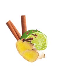 Limette, zimtstangen, Nelken und Ingwerscheiben