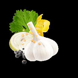 Zitronenschale, Knoblauchknolle, Wacholderbeeren, Zwiebelscheiben und Korianderblatt