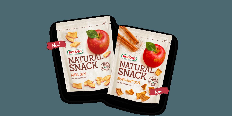 Natural Snack Standbeutel mit Apfel-Zimt-Chips und Apfel-Chips