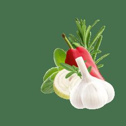 Rosmarin, Knoblauch, Zwiebelscheiben und Oregano