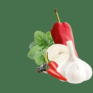 Paprika, Knoblauch, Zwiebelscheiben, Chilis und schwarzer Pfeffer