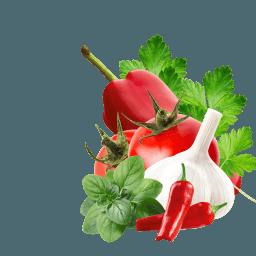 Paprika, Tomate, Chilischoten, Knoblauch, Petersilie und Majoran