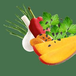 Mangostücke, Schwarzkümmel, Petersilie, Paprika, Schnittlauch und Knoblauch