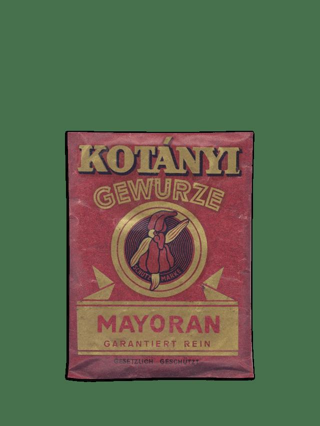 Eine Kotányi-Briefverpackung von Majoran aus dem Jahr 1900