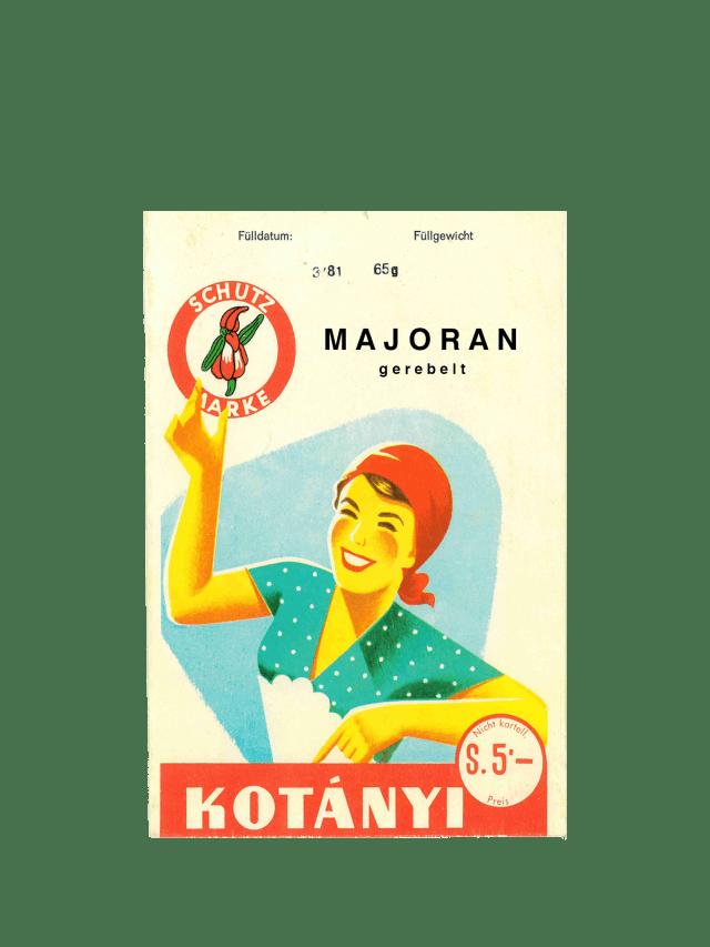 Eine Kotányi-Briefverpackung für Majoran aus den 1950er Jahren