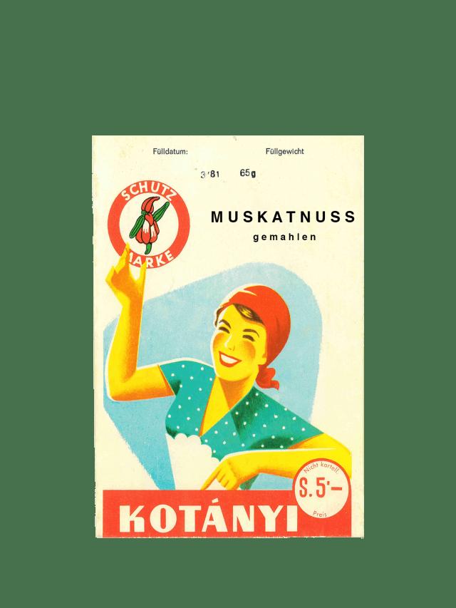 Eine Kotányi-Briefverpackung für Muskatnuss aus den 1950er Jahren