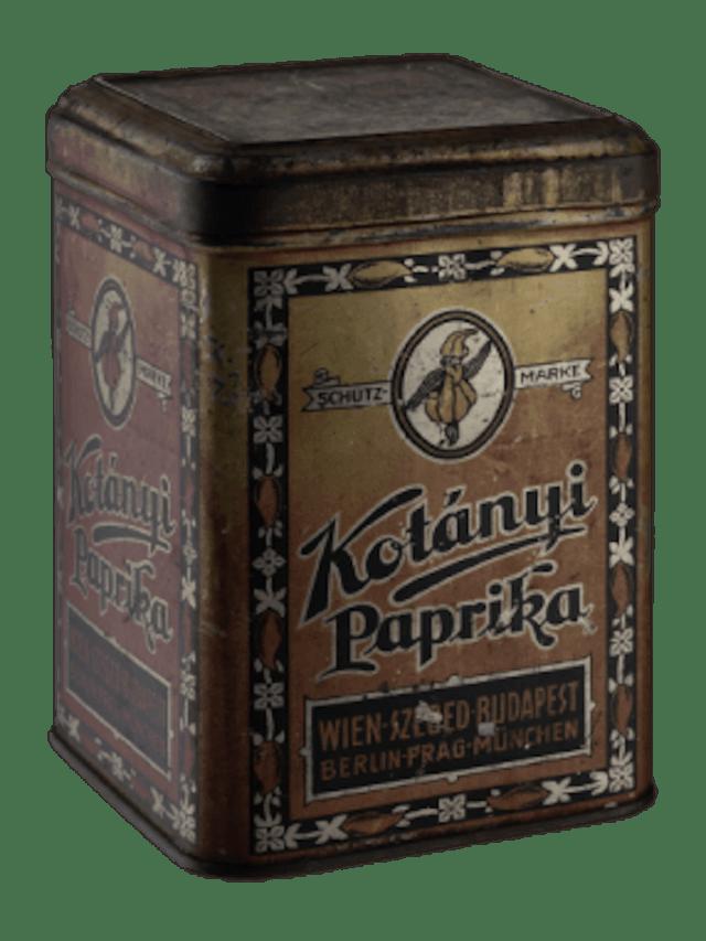 Paprika Gewürzverpackung von Kotányi aus dem Jahr 1896