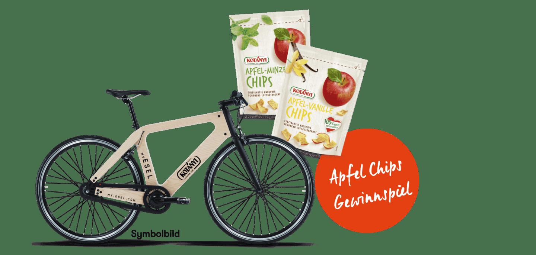 Gewinne ein My Esel Fahrrad und Kotányi Apfel Chips